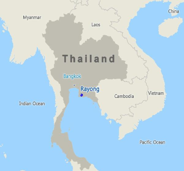 Location of Thailand PTT subsidiaries' projects